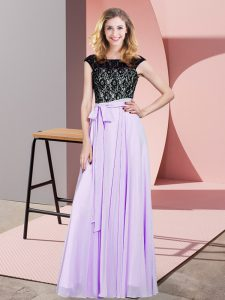 Floor Length Lavender Prom Party Dress Scoop Sleeveless Lace Up