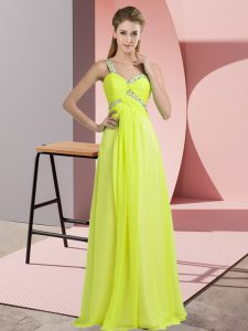 Noble Sleeveless Chiffon Floor Length Lace Up in Yellow Green with Beading