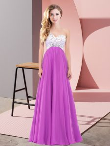 Sumptuous Floor Length Fuchsia Prom Party Dress One Shoulder Sleeveless Lace Up