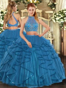 Teal Column/Sheath Halter Top Sleeveless Tulle Floor Length Criss Cross Beading and Ruffled Layers 15 Quinceanera Dress