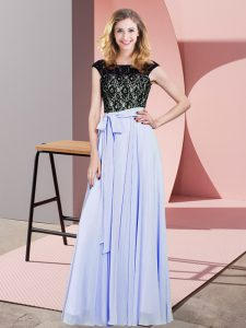 Empire Prom Evening Gown Lavender Scoop Chiffon Sleeveless Floor Length Lace Up