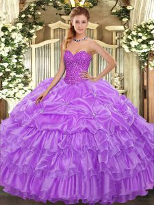 High Class Lavender Sweetheart Neckline Beading and Ruffled Layers and Pick Ups 15 Quinceanera Dress Sleeveless Lace Up