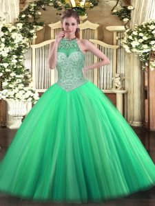 Halter Top Sleeveless Tulle Sweet 16 Quinceanera Dress Beading Lace Up