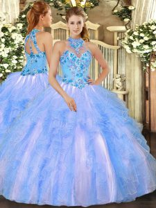 Inexpensive Organza Sleeveless Floor Length Quinceanera Dresses and Embroidery and Ruffles