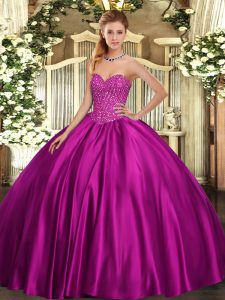 Trendy Beading Sweet 16 Dress Fuchsia Lace Up Sleeveless Floor Length