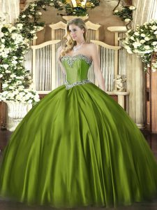 Olive Green Quinceanera Gowns Military Ball and Sweet 16 and Quinceanera with Beading Sweetheart Sleeveless Lace Up