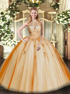 Chic Orange Red Tulle Lace Up Halter Top Sleeveless Floor Length Sweet 16 Dresses Lace and Appliques