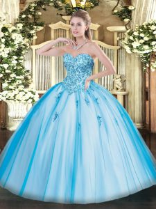 Baby Blue Ball Gowns Tulle Sweetheart Sleeveless Appliques Floor Length Lace Up Quinceanera Dresses