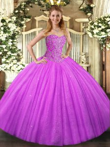 Super Beading Sweet 16 Dress Lilac Lace Up Sleeveless Floor Length