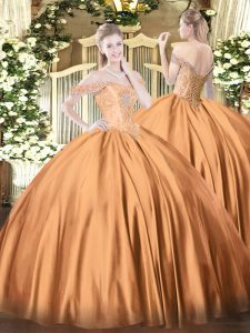 Rust Red Lace Up Off The Shoulder Beading Quinceanera Dresses Satin Sleeveless