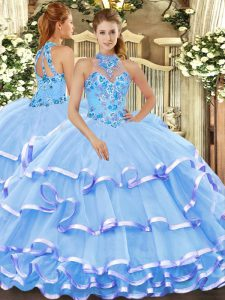 Romantic Halter Top Sleeveless Organza Sweet 16 Quinceanera Dress Beading and Embroidery Lace Up
