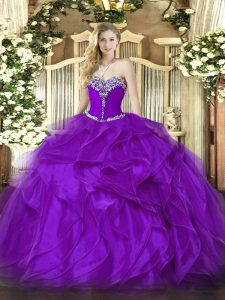 Shining Organza Sleeveless Floor Length Vestidos de Quinceanera and Beading and Ruffles