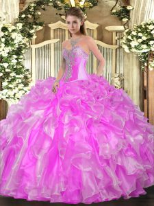 Sweet Lilac Sleeveless Organza Lace Up Quinceanera Gowns for Military Ball and Sweet 16 and Quinceanera