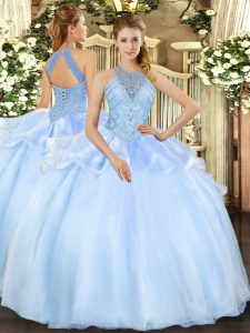 Fine Floor Length Light Blue Ball Gown Prom Dress Organza Sleeveless Beading