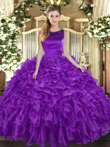 Floor Length Eggplant Purple Ball Gown Prom Dress Scoop Sleeveless Lace Up