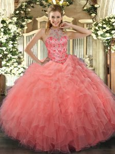 Ball Gowns Quince Ball Gowns Watermelon Red Halter Top Organza Sleeveless Floor Length Lace Up