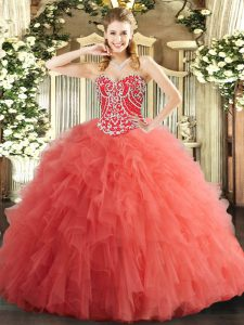 Custom Design Watermelon Red Lace Up Vestidos de Quinceanera Beading and Ruffles Sleeveless Floor Length