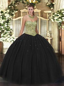 Popular Sweetheart Sleeveless Lace Up Sweet 16 Dress Black Tulle