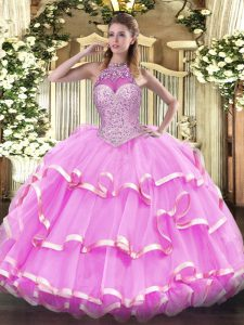 Admirable Sleeveless Floor Length Beading and Ruffled Layers Lace Up Quinceanera Gowns with Rose Pink