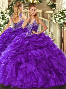 Floor Length Lace Up Quince Ball Gowns Purple for Military Ball and Sweet 16 and Quinceanera with Beading and Ruffles and Pick Ups