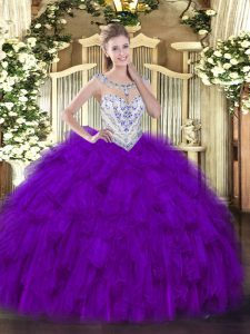 Glorious Scoop Sleeveless Quinceanera Dress Floor Length Beading and Ruffles Purple Tulle