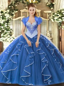 Custom Fit Blue Tulle Lace Up 15 Quinceanera Dress Cap Sleeves Floor Length Beading