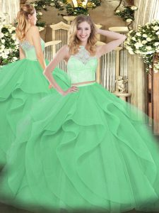 Apple Green Sweet 16 Dress Military Ball and Sweet 16 and Quinceanera with Lace and Ruffles Scoop Sleeveless Zipper