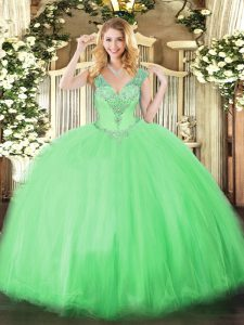 Exquisite V-neck Sleeveless Lace Up Sweet 16 Dresses Apple Green Tulle