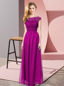 Enchanting Scoop Sleeveless Prom Evening Gown Floor Length Lace Fuchsia Tulle
