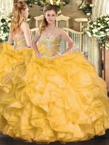 Dynamic Gold Ball Gowns Sweetheart Sleeveless Organza Floor Length Lace Up Beading and Ruffles Ball Gown Prom Dress