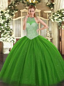 Inexpensive Tulle Halter Top Sleeveless Lace Up Beading 15 Quinceanera Dress in Green