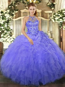 Fashion Blue Organza Lace Up Halter Top Sleeveless Floor Length 15th Birthday Dress Beading and Ruffles