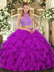 Traditional Fuchsia Halter Top Criss Cross Beading and Ruffled Layers Sweet 16 Dresses Sleeveless