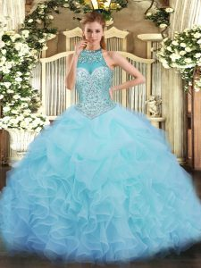Noble Sleeveless Lace Up Floor Length Beading and Ruffles and Pick Ups 15 Quinceanera Dress