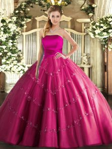 Attractive Hot Pink Sleeveless Tulle Lace Up Vestidos de Quinceanera for Military Ball and Sweet 16 and Quinceanera