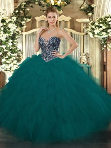 High End Teal Ball Gowns Tulle Sweetheart Sleeveless Beading and Ruffles Floor Length Lace Up Quinceanera Gown
