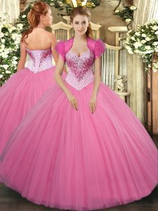 Inexpensive Rose Pink Sleeveless Beading Floor Length Quinceanera Gown