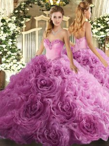 Wonderful Rose Pink Lace Up 15 Quinceanera Dress Beading Sleeveless Floor Length