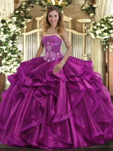 Charming Floor Length Fuchsia Quinceanera Gown Strapless Sleeveless Lace Up