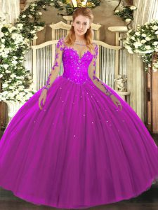 Fuchsia Long Sleeves Floor Length Lace Lace Up Sweet 16 Quinceanera Dress