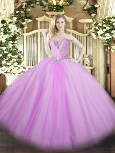 Sleeveless Lace Up Floor Length Beading Ball Gown Prom Dress