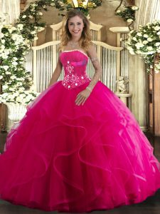 Glittering Hot Pink Strapless Lace Up Beading and Ruffles Quinceanera Gown Sleeveless