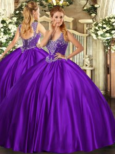 Straps Sleeveless 15th Birthday Dress Floor Length Beading Purple Satin