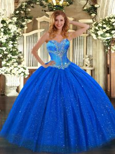 Dazzling Royal Blue Sleeveless Beading Floor Length Sweet 16 Dresses