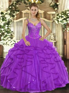 Trendy Eggplant Purple Ball Gowns Tulle V-neck Sleeveless Beading and Ruffles Floor Length Lace Up Quinceanera Dress