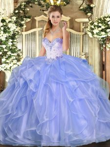 Lavender Ball Gowns Organza Sweetheart Sleeveless Beading and Ruffles Floor Length Lace Up 15th Birthday Dress