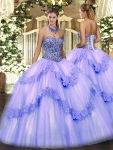 Sleeveless Floor Length Beading and Appliques and Ruffles Lace Up Quinceanera Gown with Lavender