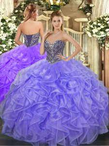 Enchanting Sleeveless Beading and Ruffles Lace Up 15th Birthday Dress