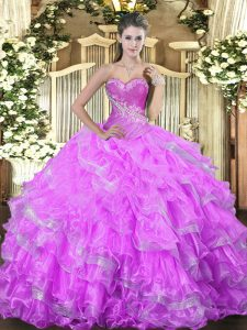 Sumptuous Organza Sleeveless Floor Length Quinceanera Gown and Beading and Ruffled Layers