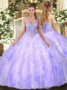 Lavender Ball Gowns Straps Sleeveless Tulle Floor Length Lace Up Beading and Ruffles Quinceanera Dress
